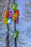 Case dell'uccello in legno Immagine Stock Libera da Diritti