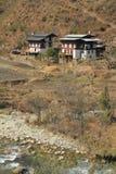 Case della campagna, Bhutan Immagini Stock