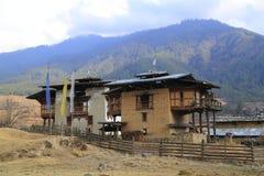 Case della campagna, Bhutan Immagine Stock