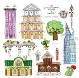 Case della città e raccolta felice desing del mondo dell'insieme di elementi della via Fotografia Stock Libera da Diritti
