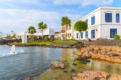 Case delle isole Canarie tipiche nel porto di Rubicon Fotografie Stock Libere da Diritti