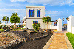 Case delle isole Canarie tipiche nel porto di Rubicon Fotografia Stock Libera da Diritti