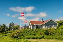 Case delle vacanze rustiche in Sjelborg vicino a Esbjerg, Danimarca Immagini Stock