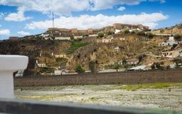 Case di abitazioni in roccia al castl di Puerto Lumbreras e di Nogalte immagini stock libere da diritti