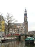 Case di Amsterdam sui canali 0850 dell'acqua Fotografie Stock