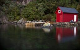 Case di barca a Bergen, Norvegia Fotografie Stock Libere da Diritti