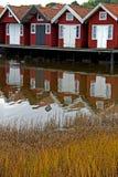 Case di barca per vivere Fotografia Stock