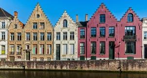 Case di Bruges e canale medievali, Belgio Immagini Stock Libere da Diritti