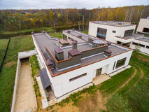 Case di campagna moderne in costruzione Fotografie Stock