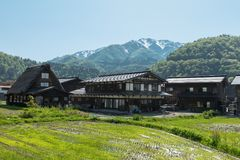 Case di Gassho-zukuri nel villaggio di Gokayama Gokayama è stato insc Immagini Stock
