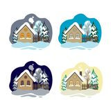 Case di inverno Metta della casa immagine stock