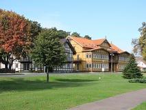 Case di legno, Lituania fotografia stock
