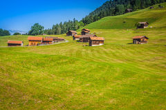 Case di legno in Malbun nel Lichtenstein, Europa Fotografie Stock Libere da Diritti