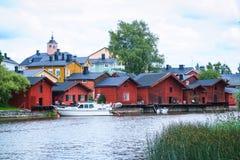 Case di legno rosse di Porvoo, Finlandia Immagini Stock Libere da Diritti