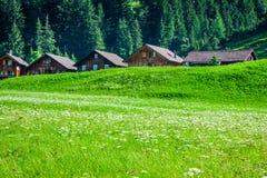 Case di legno in Steg, Malbun, nel Lichtenstein, Europa Fotografie Stock Libere da Diritti