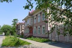 Case di legno a Tomsk Fotografie Stock