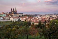 Case di Praga e st Vitus Cathedral, vista dalla collina di Petrin Fotografie Stock Libere da Diritti