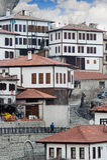 Case di Safranbolu su orario invernale nevoso Karabuk Turchia fotografie stock
