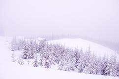 Case di Snowy nelle montagne Precipitazioni nevose nelle montagne fotografia stock