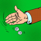 Case the die is dice throwing hand business Stock Photo
