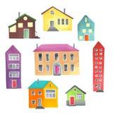 Case differenti su un fondo bianco Immagine Stock