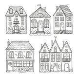 Case divertenti di scarabocchio Insieme disegnato a mano dell'illustrazione di vettore Fotografie Stock