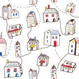 Case divertenti nel modello senza cuciture della città Fotografie Stock Libere da Diritti