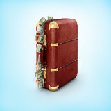 Case with dollars. On a blue background Royalty Free Stock Photography