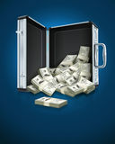Case with dollars money concept Stock Photo
