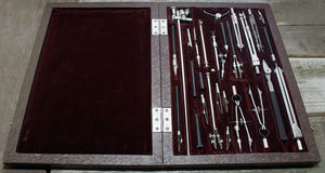 Case of drawing instruments. Stock Image