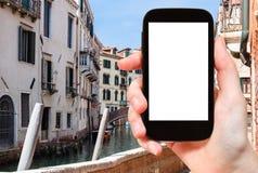 case e canale turistici dei photograps a Venezia Fotografie Stock