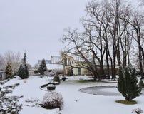 Case ed alberi nevosi, Lituania Fotografie Stock