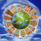 Case ed il pianeta illustrazione di stock
