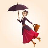 Case el vuelo de Poppins en el paraguas stock de ilustración