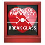 In Case Of Emergency Break Glass. An illustration of a heart within casing that says In Case of Emergency Break Glass, for those who are broken hearted and need Royalty Free Stock Photography