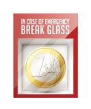 In case of emergency break glass. One Euro coin - business concept Stock Photo