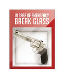 In case of emergency break glass. Revolver concept Stock Photo
