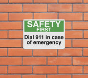 In Case of Emergency. A modified sign with a safety reminder Royalty Free Stock Photo