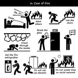 In Case of Fire Emergency Plan Icons. A set of human pictogram representing fire emergency action plan and preparedness stock illustration