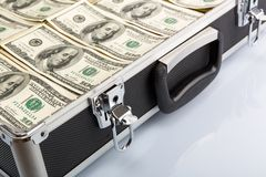Case full of dollar on white background Stock Photography