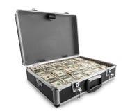 Case full of dollar on white background. Case full of dollar isolated on white background Stock Photo