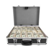 Case full of dollar on white background Stock Photo