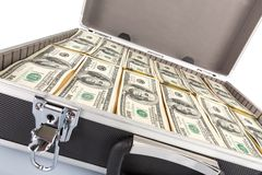 Case full of dollar on white background Royalty Free Stock Images