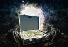 Case full of dollars Stock Photography