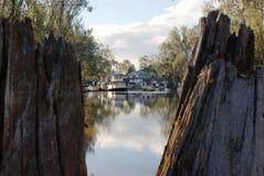 Case galleggianti su Murray River Fotografie Stock Libere da Diritti