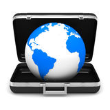Case and globe on white background Stock Images