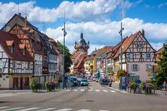 Case a graticcio nel centro storico di Selestat nell'Alsazia Fotografia Stock Libera da Diritti