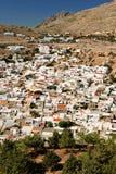 Case greche tradizionali in Lindos Immagini Stock Libere da Diritti