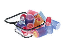 Case of hair rollers on white Stock Photo