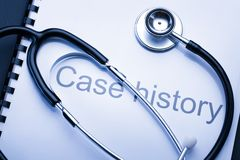 Case history and stethoscope Stock Photography